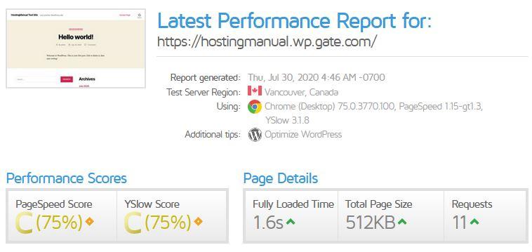 Gate.com Website Speed