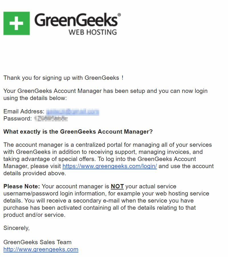 GreenGeeks Welcome Email